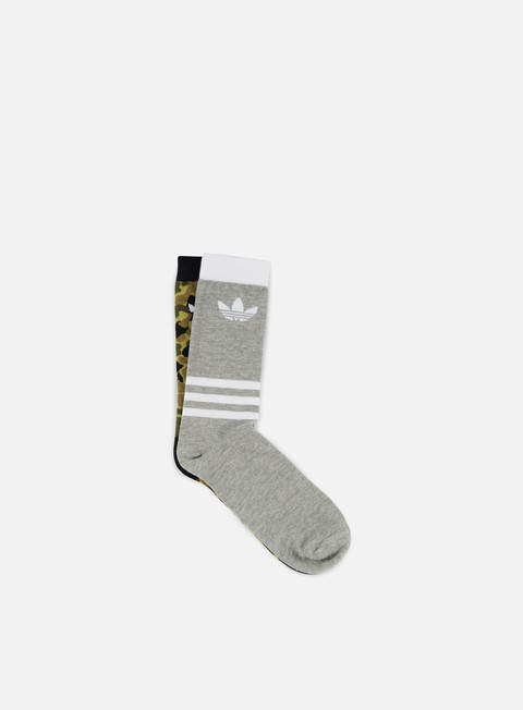 accessori adidas originals graphic 2 pair crew socks multicolor black medium grey heather