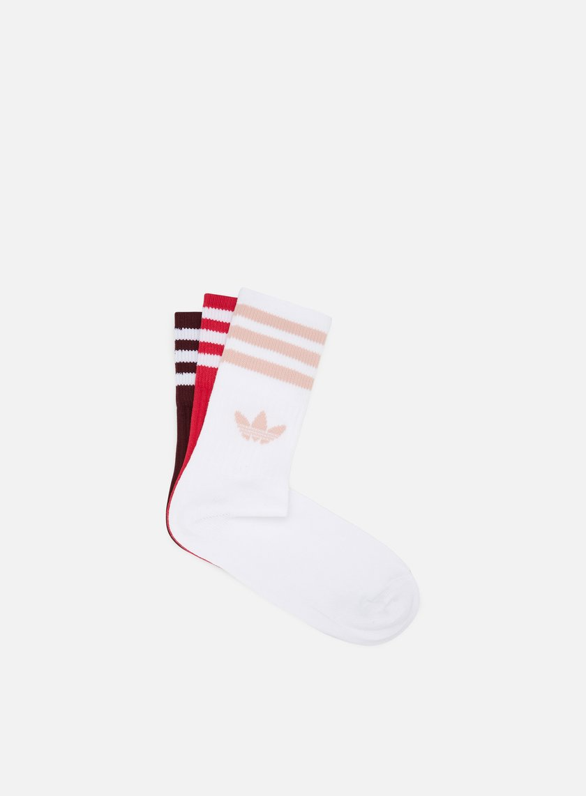 biblioteca Discriminación Ewell  Adidas Originals Mid Cut 3 Pair Crew Socks, Maroon Energy Pink White |  Graffitishop