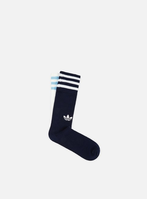 accessori adidas originals solid 2 pair crew socks collegiate navy white white