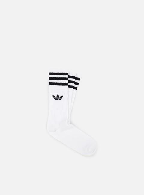 piacevole Sporcizia Psicologico  Adidas Originals Solid Crew Socks, White Black | Graffitishop