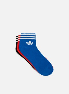 Adidas Originals - Trefoil Ankle Stripe Socks, Black/Red/Blue