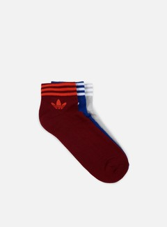 Adidas Originals - Trefoil Ankle Stripe Socks, Mistery Ink/Grey Two/Collegiate Burgundy 1