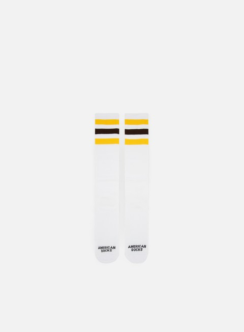 accessori american socks california knee high white yellow brown yellow