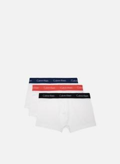 Calvin Klein Underwear - Cotton Stretch 3 Pack Low Rise Trunk, Black/Airforce
