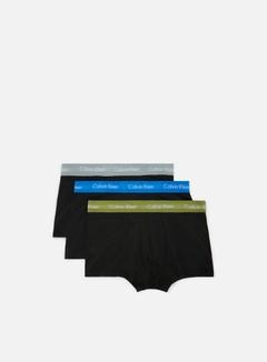 Calvin Klein Underwear - Cotton Stretch 3 Pack Low Rise Trunk, Black/Olivine/Skyview