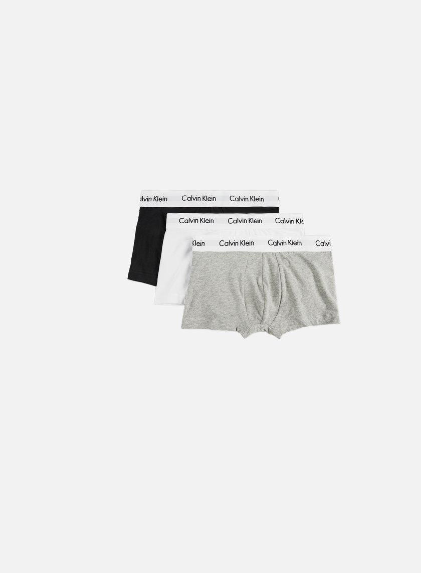 Calvin Klein Underwear - Cotton Stretch 3 Pack Low Rise Trunk, Black/White/Grey Heather