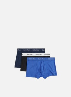 Calvin Klein Underwear - Cotton Stretch 3 Pack Low Rise Trunk, Blue Shadow/Cobal Water/Black