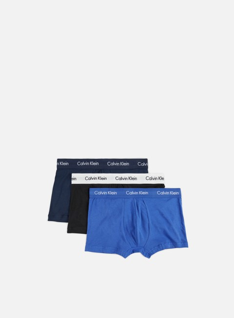 accessori calvin klein underwear cotton stretch 3 pack low rise trunk blue shadow cobal water black