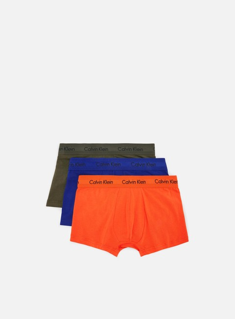 accessori calvin klein underwear cotton stretch 3 pack low rise trunk forest night orange