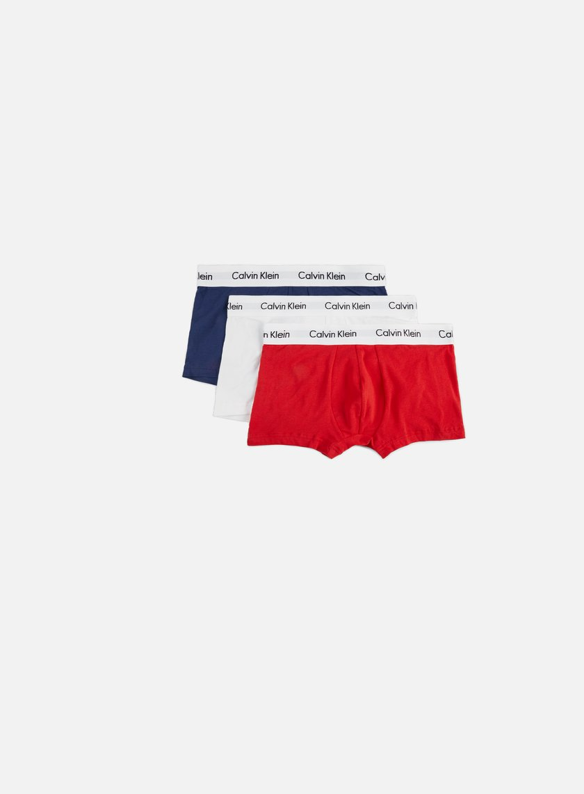 Calvin Klein Underwear - Cotton Stretch 3 Pack Low Rise Trunk, Red Ginger/Pyro Blue/White
