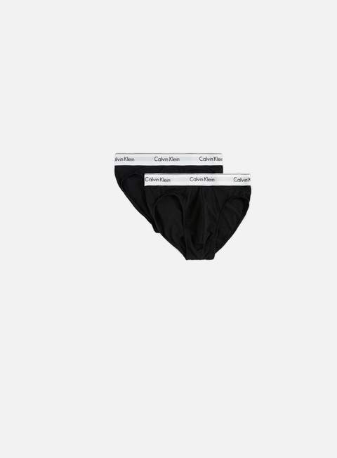 accessori calvin klein underwear modern cotton 2 pack hip brief black