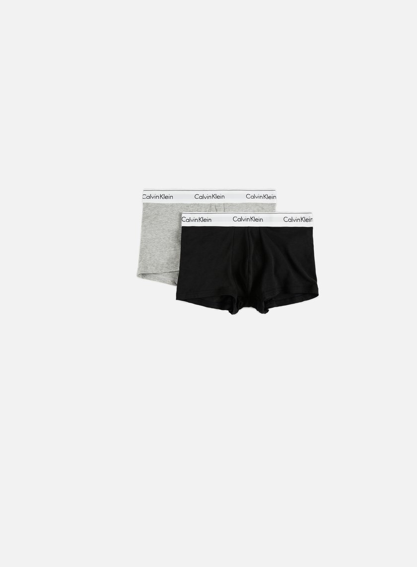Calvin Klein Underwear - Modern Cotton 2 Pack Trunk, Black/Heather Grey