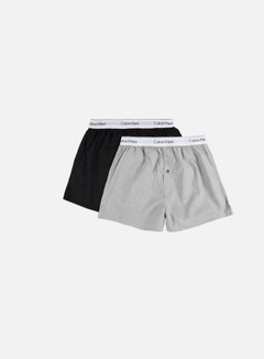 Calvin Klein Underwear - Modern Cotton Woven 2 Pack Slim Boxer, Black/Heather Grey 1