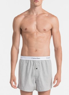 Calvin Klein Underwear - Modern Cotton Woven 2 Pack Slim Boxer, Black/Heather Grey 2