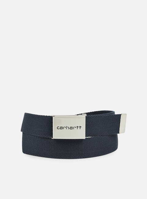 accessori carhartt clip belt chrome navy