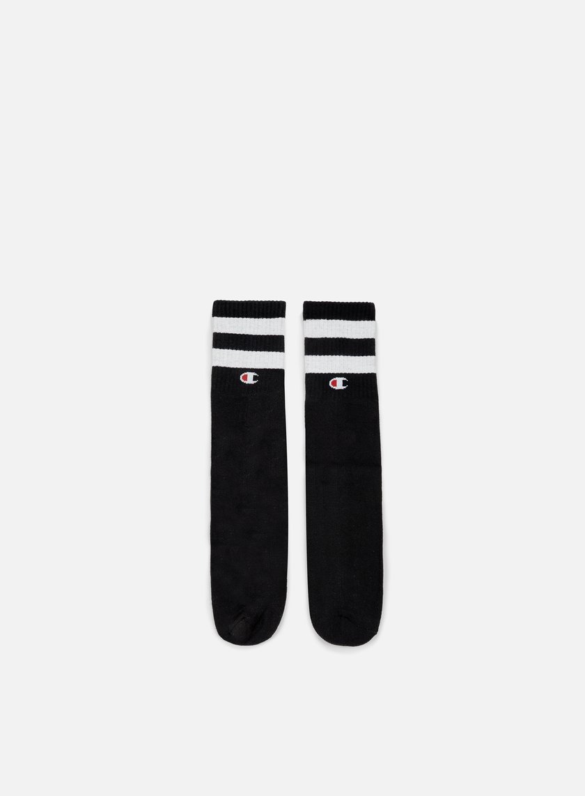 Champion - Tube Stripe Crew Socks, Black