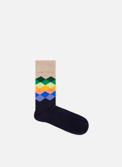 Happy Socks - Faded Diamonds, Light Brown/Multi/Navy