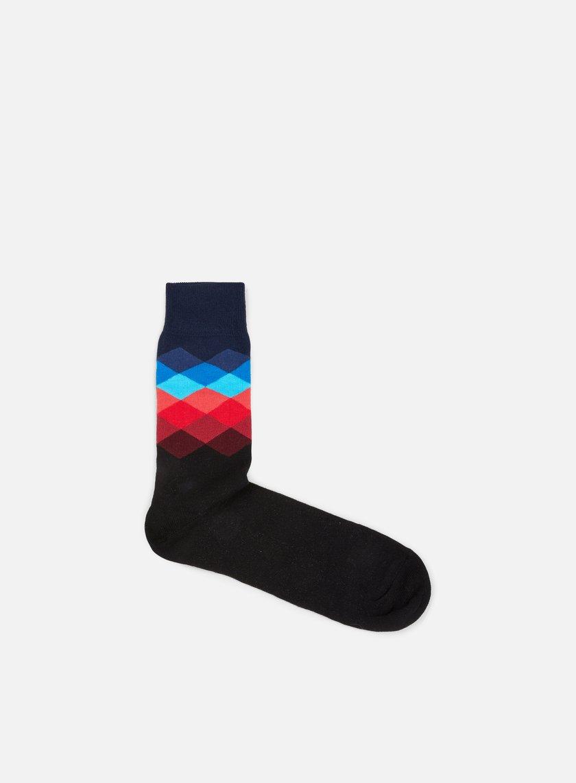 Happy Socks - Faded Diamonds, Navy/Multi/Black