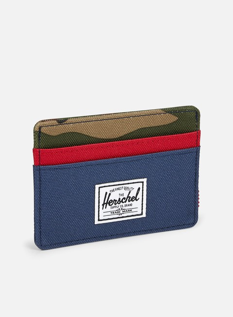 accessori herschel charlie card holder wallet navy red woodland camo