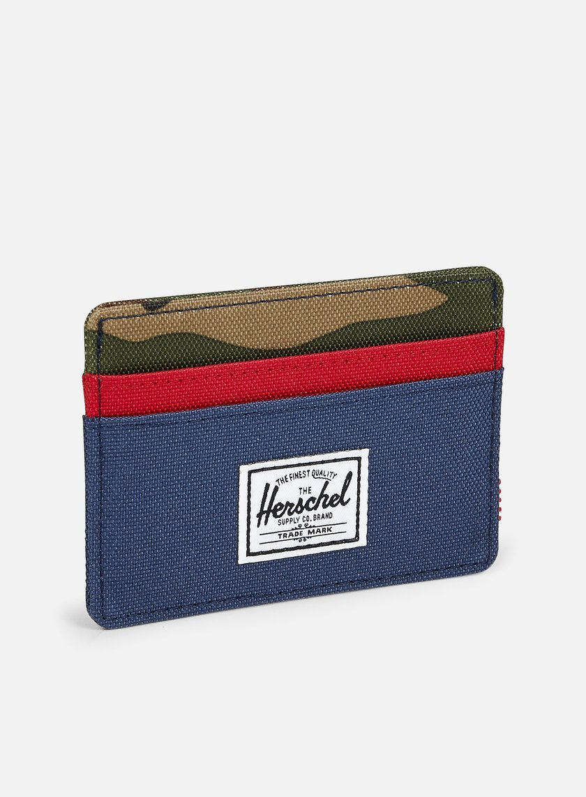 Herschel - Charlie Card Holder Wallet, Navy/Red/Woodland Camo