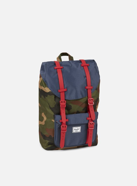 accessori herschel little america mid volume rubber backpack classic woodland camo navy red