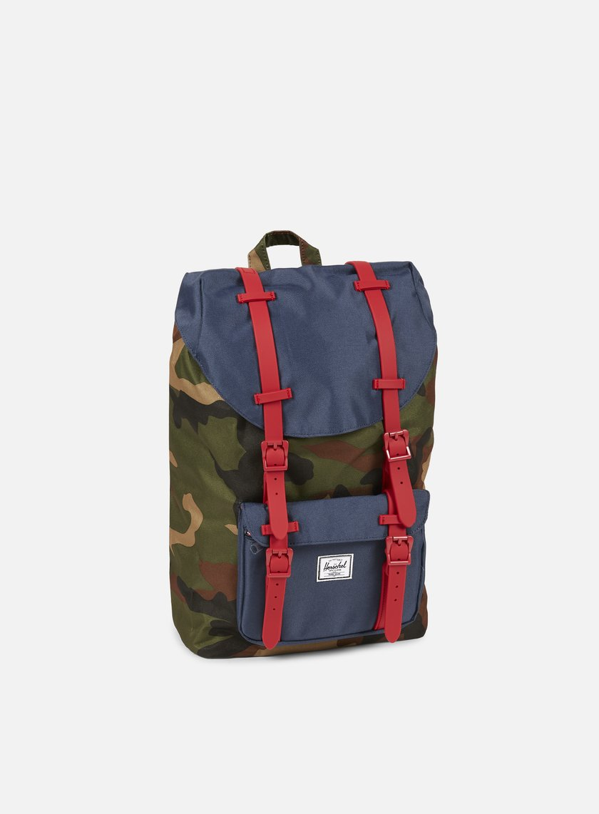 Herschel - Little America Mid Volume Rubber Backpack Classic, Woodland Camo/Navy/Red