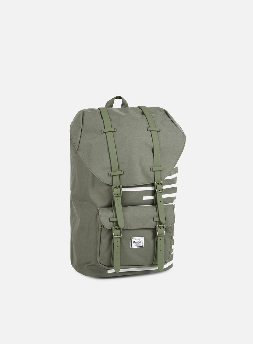 Herschel - Little America Offset Backpack, Deep Lichen Green