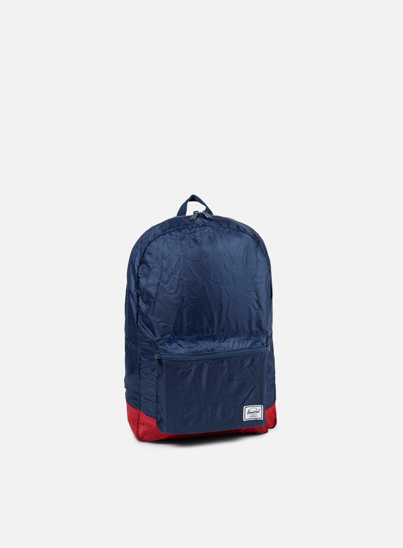 Herschel - Packable Daypack Backpack, Navy/Red