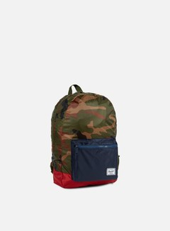 Herschel - Packable Daypack Backpack, Woodland Camo/Navy/Red