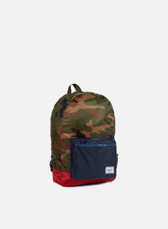 Herschel - Packable Daypack Backpack, Woodland Camo/Navy/Red