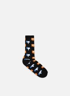 Huf - No Friends Crew Socks, Black 1