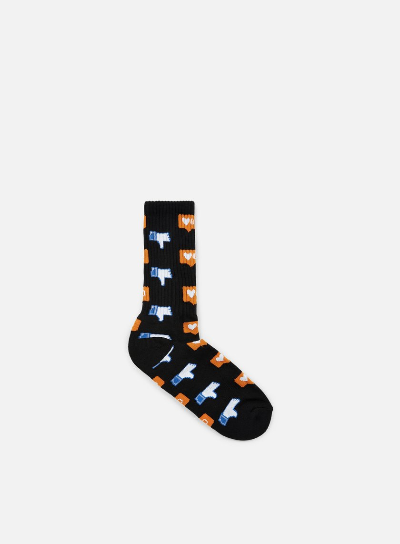 Huf - No Friends Crew Socks, Black