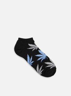 Huf - No Show Plantlife Crew Socks, Black/Grey/Light Blue