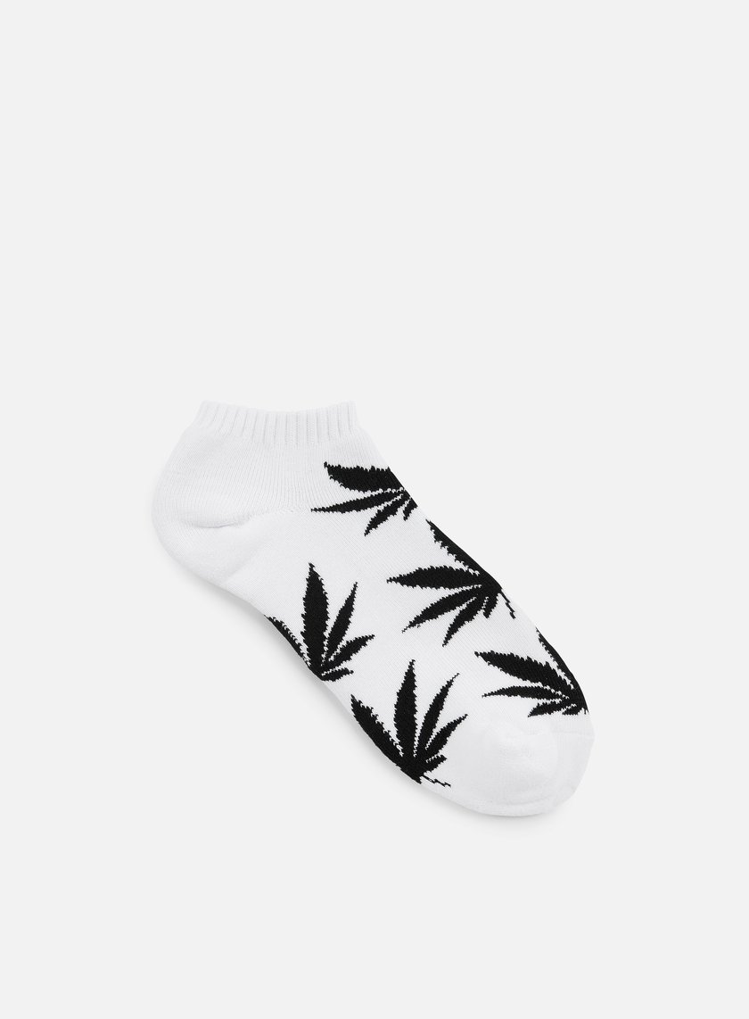 Huf - No Show Plantlife Crew Socks, White/Black
