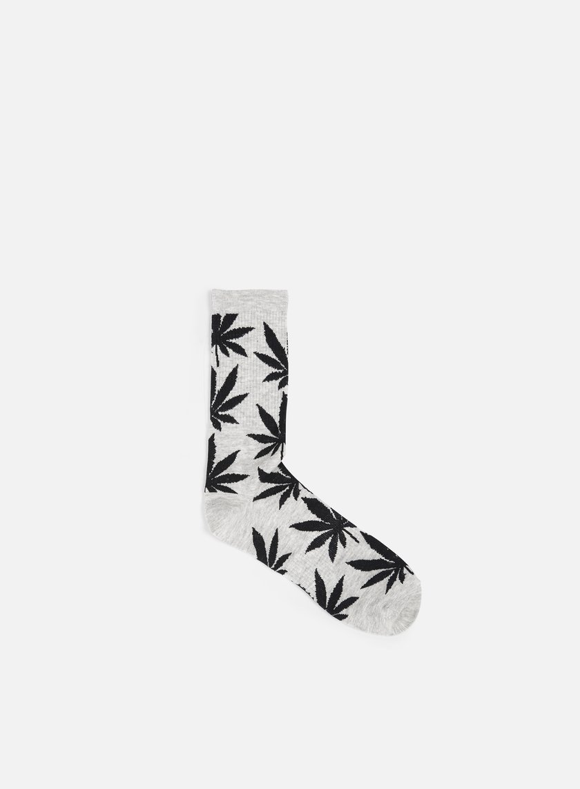 Huf - Plantlife Lite Crew Socks, Grey Heather/Black