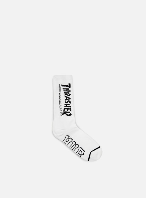 accessori huf thrasher logo crew socks white