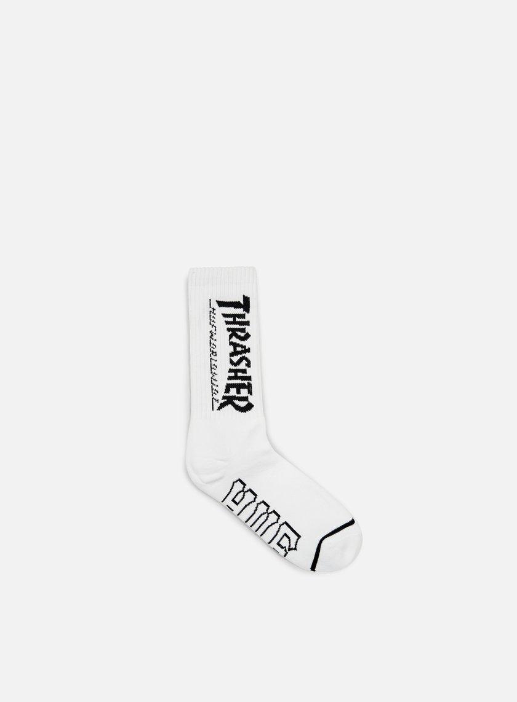 Huf - Thrasher Logo Crew Socks, White