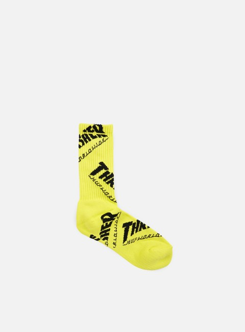 accessori huf thrasher tds crew socks yellow