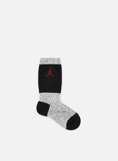 Jordan - Jordan Elephant Crew Socks, White/Black/Gym Red 1