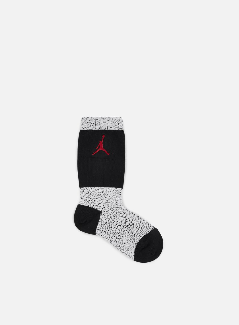 Jordan - Jordan Elephant Crew Socks, White/Black/Gym Red