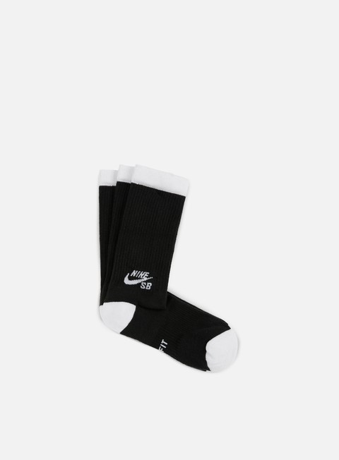 accessori nike sb sb 3 pack crew socks black white
