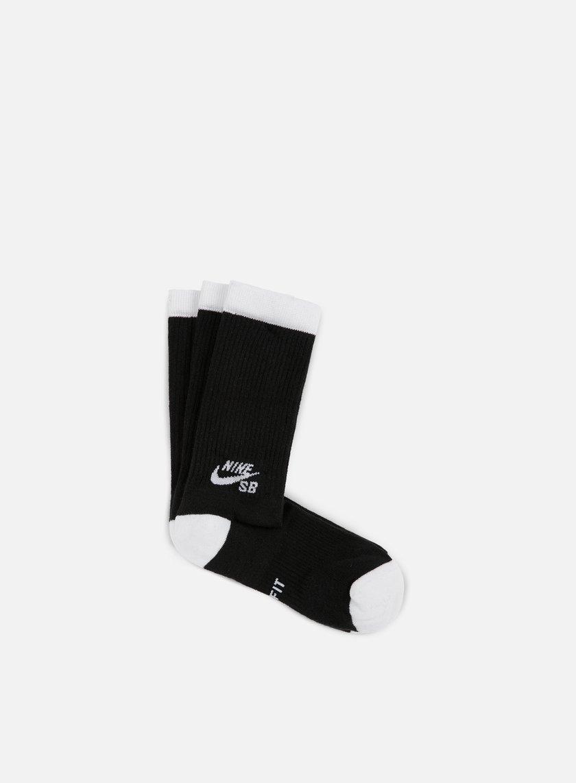Nike SB - SB 3 Pack Crew Socks, Black/White