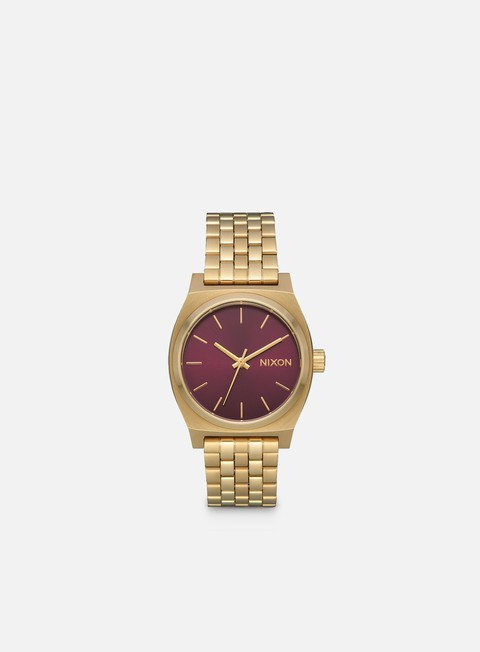 accessori nixon medium time teller light gold bordeaux sunray