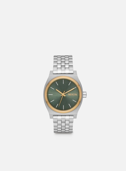 accessori nixon medium time teller silver gold agave