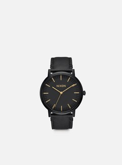 Nixon - Porter Leather, All Black/Gold