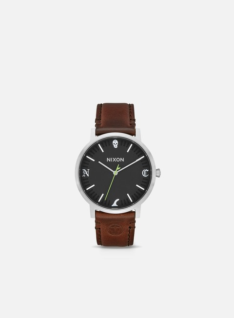 accessori nixon porter leather black brown fin