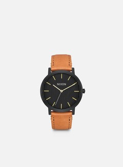 Nixon - Porter Leather, Black/Stamped/Brown