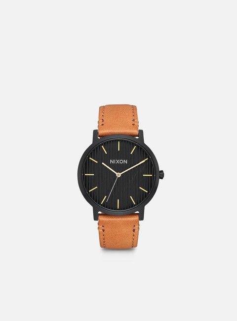 accessori nixon porter leather black stamped brown