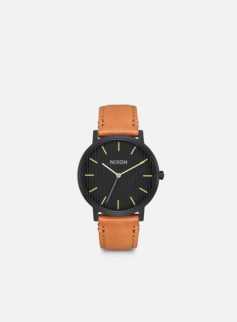 accessori nixon porter leather black stamped brown