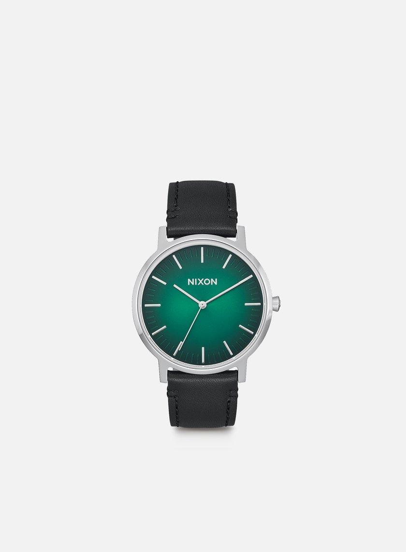 Nixon - Porter Leather, Green Ombre/Black